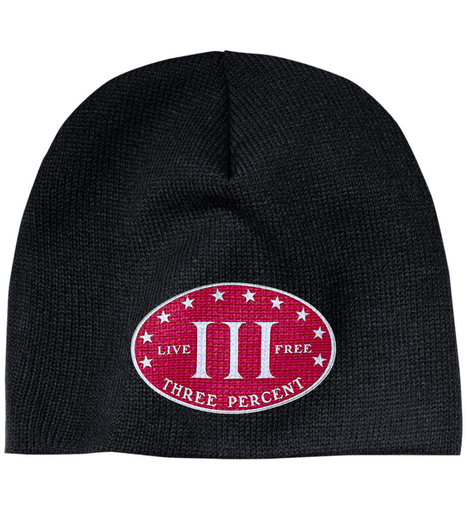 Three Percenter. Live Free. Hat. 100% Acrylic Beanie. (Embroidered)-1