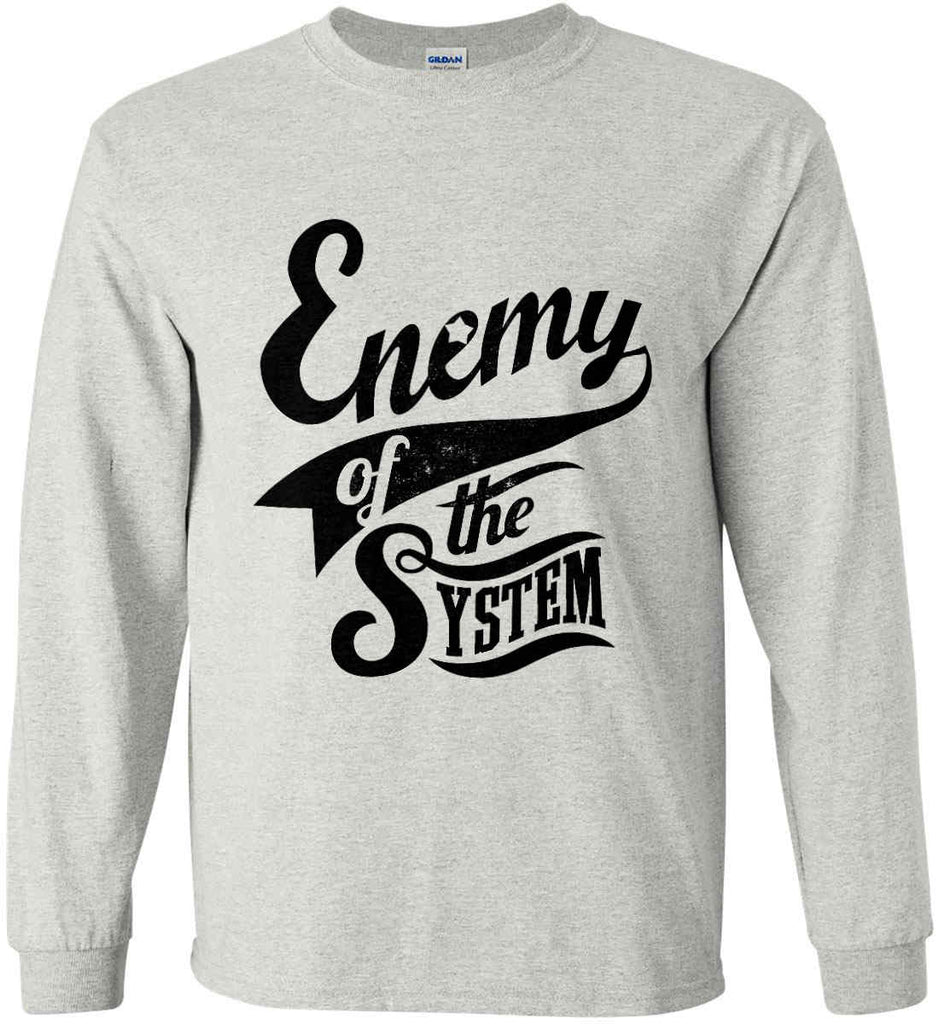 Enemy of The System. Gildan Ultra Cotton Long Sleeve Shirt.-3