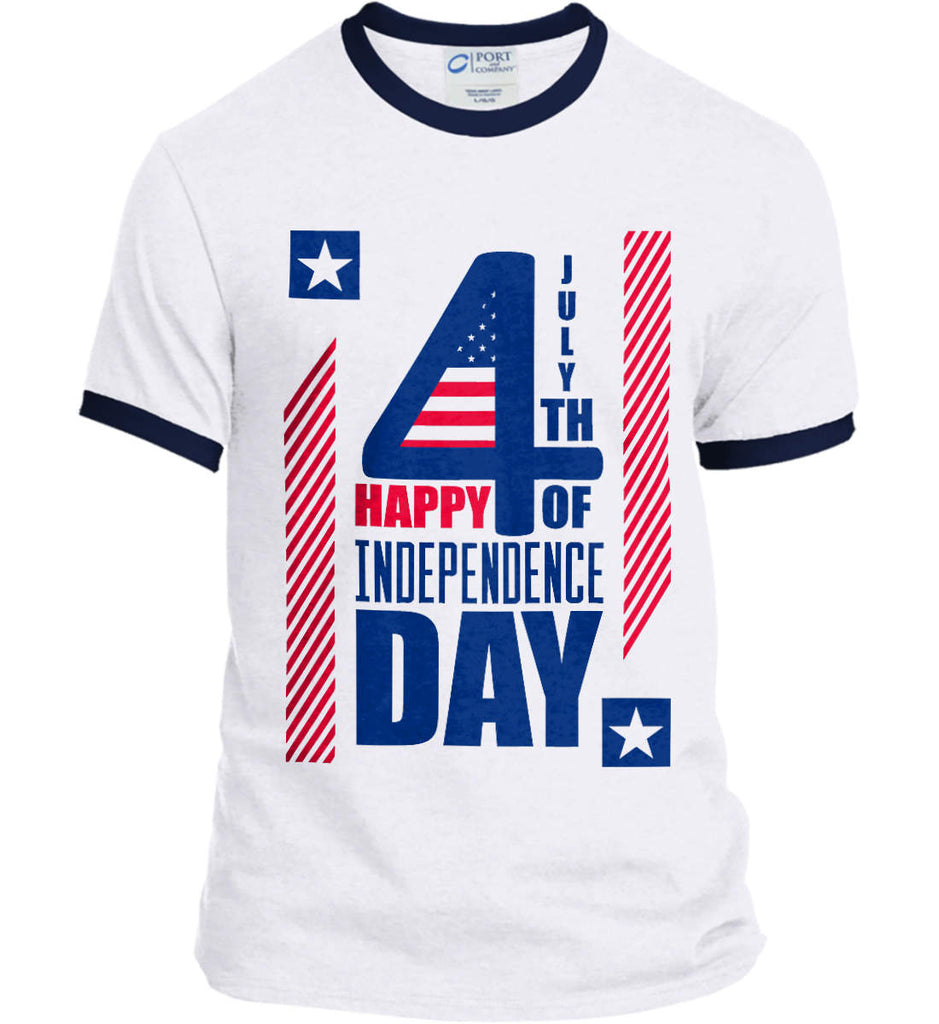 4th of July with Stars and Stripes. Port and Company Ringer Tee.-4