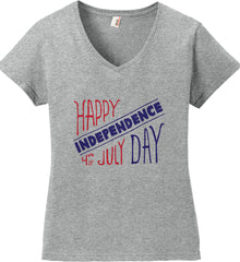 Happy Independence Day. 4th of July. Women's: Anvil Ladies' V-Neck T-Shirt.