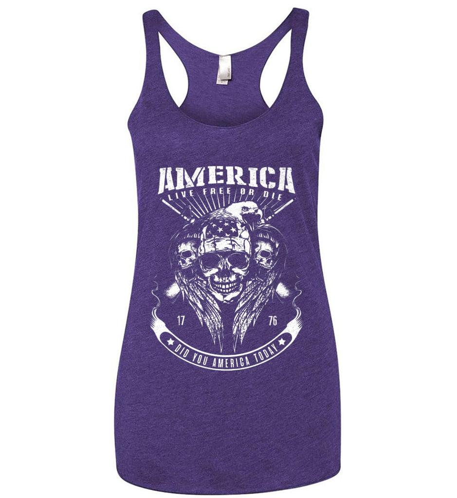 Did you America Today. 1776. Live Free or Die. Skull. White Print. Women's: Next Level Ladies Ideal Racerback Tank.-6