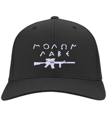 Molon Labe Rifle Hat. Port Authority Flex Fit Twill Baseball Cap. (Embroidered)