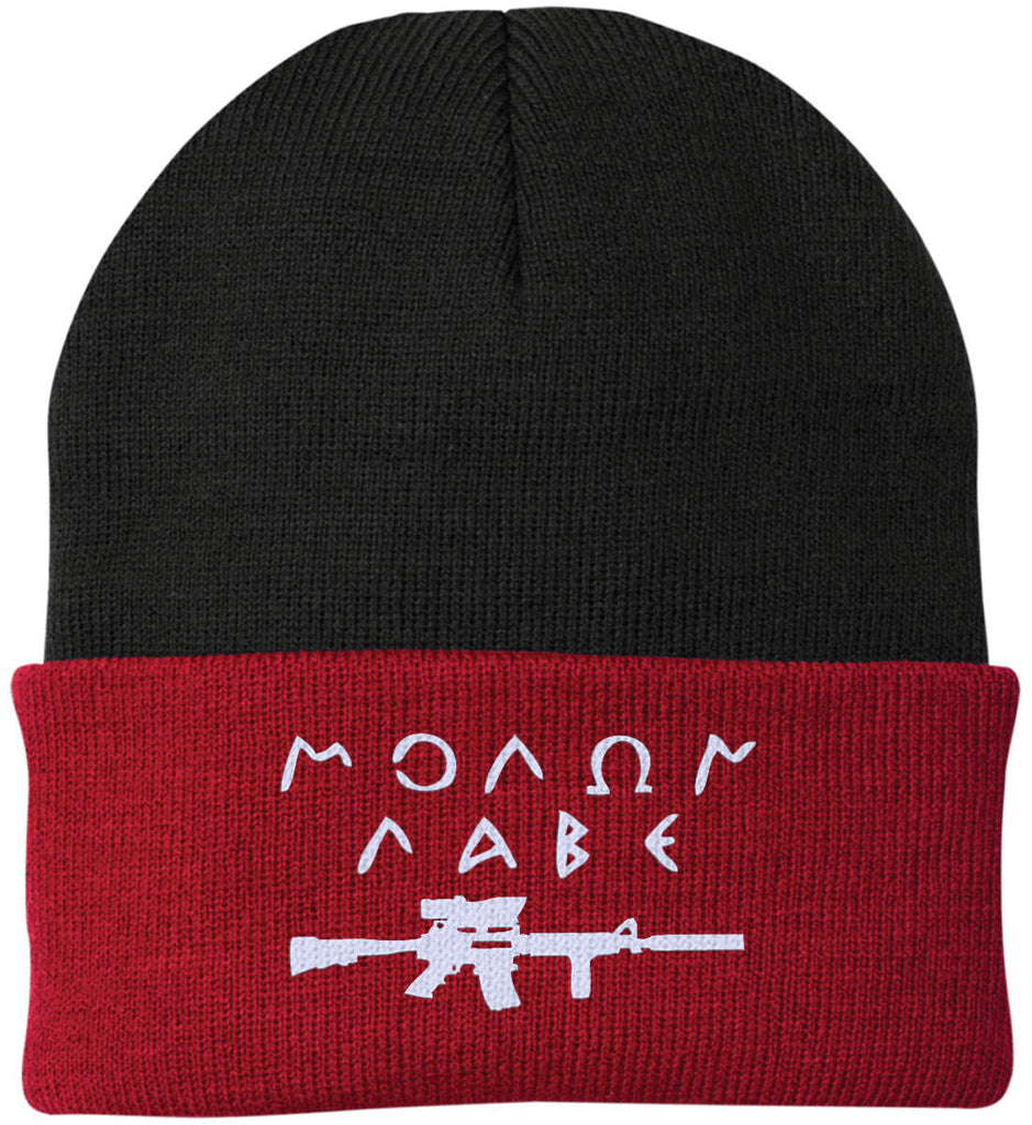 Molon Labe Rifle Hat. Port Authority Knit Cap. (Embroidered)-14