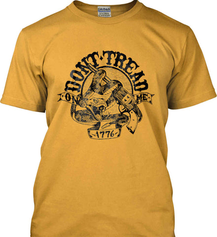 Don't Tread on Me: 1776. Black Print. Gildan Ultra Cotton T-Shirt.