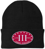 Three Percenter. Live Free. Hat. Port Authority Knit Cap. (Embroidered)