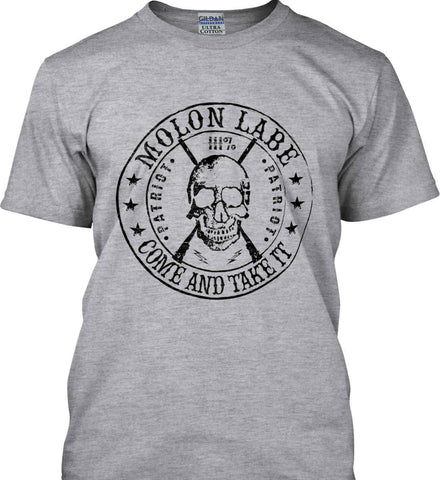 Molon Labe. Come and Take. Skull. Black Print Gildan Tall Ultra Cotton T-Shirt.