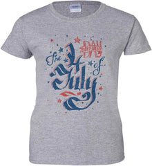 The 4th of July. Ribbon Script. Women's: Gildan Ladies' 100% Cotton T-Shirt.