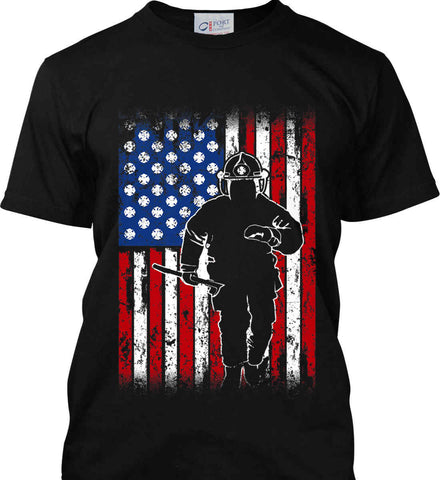 Firefighter American Flag. Port & Co. Made in the USA T-Shirt.