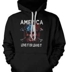 America. Love It or Leave It. Gildan Heavyweight Pullover Fleece Sweatshirt.