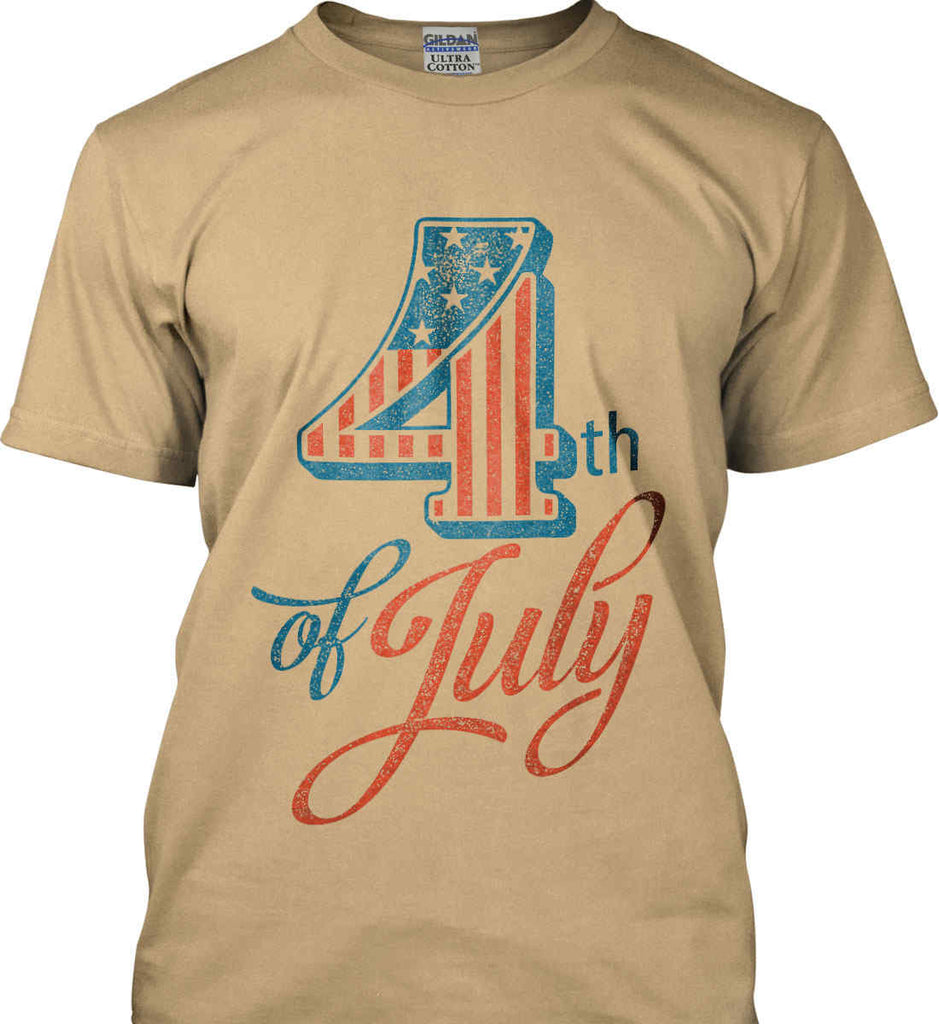 4th of July. Faded Grunge. Gildan Ultra Cotton T-Shirt.-8