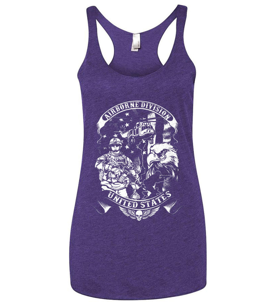 Airborne Division. United States. White Print. Women's: Next Level Ladies Ideal Racerback Tank.-6