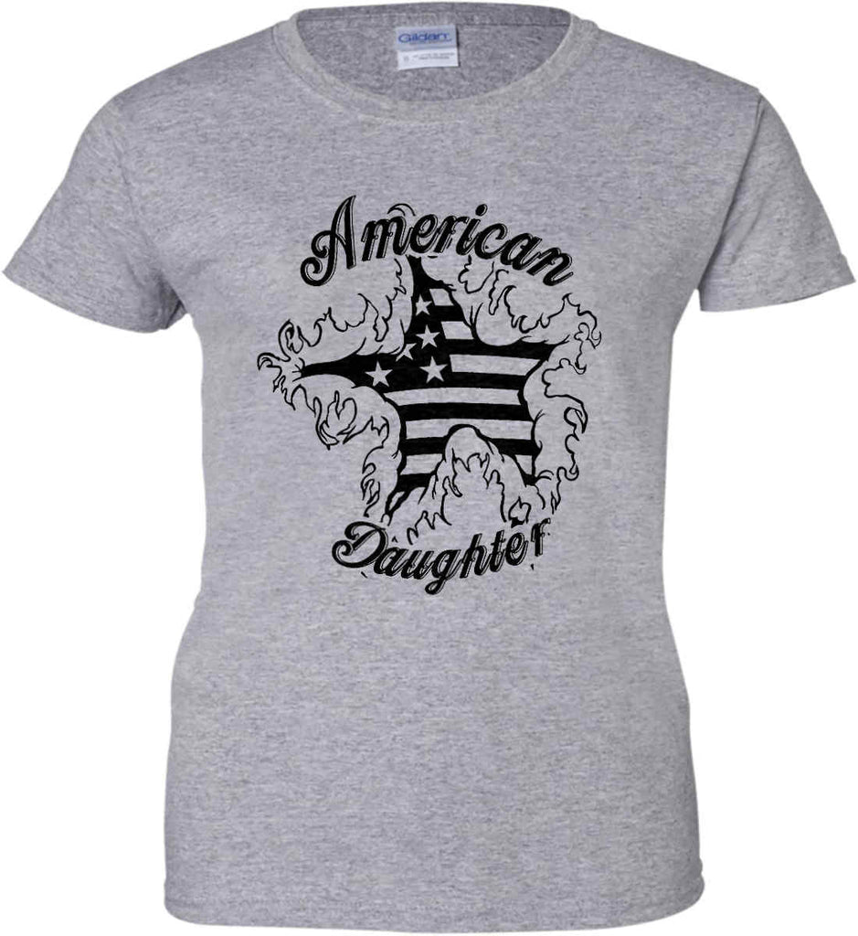 American Daughter. Women's Patriot Design. Women's: Gildan Ladies' 100% Cotton T-Shirt.-2