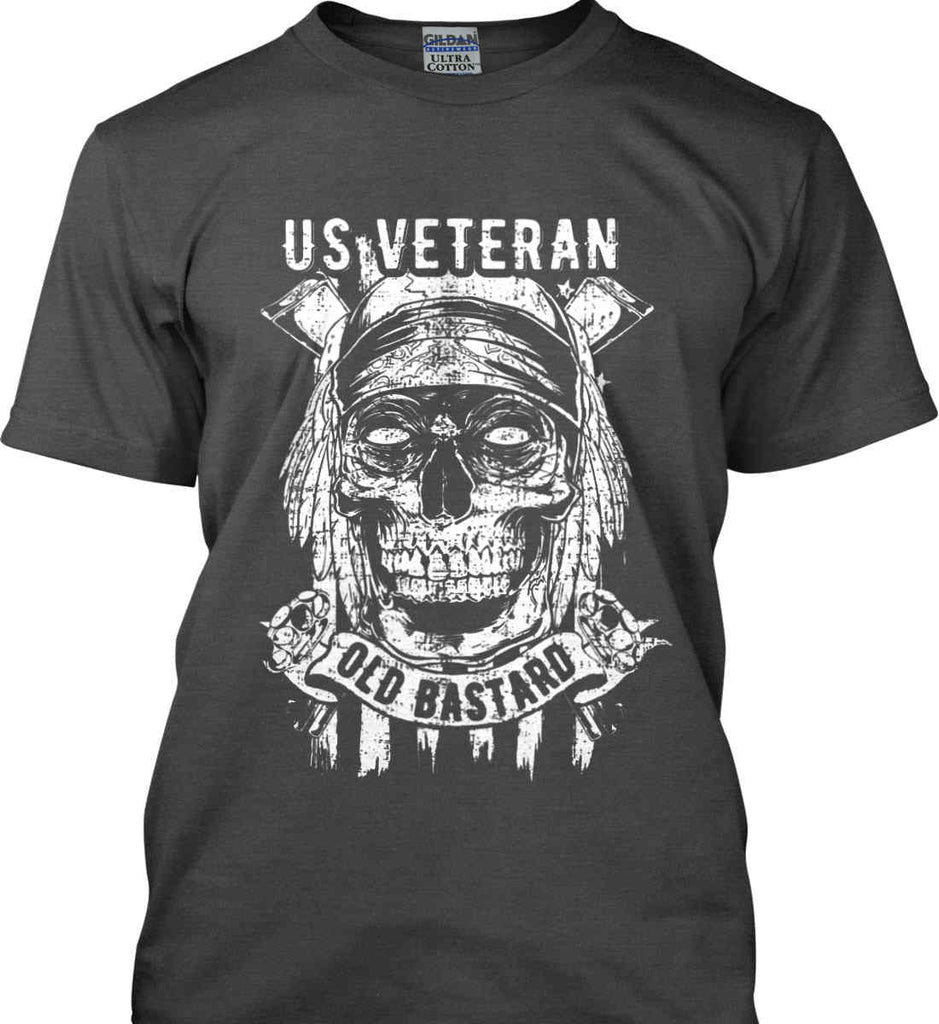 US Veteran. Skull on Flag. White Print. Gildan Ultra Cotton T-Shirt.-2