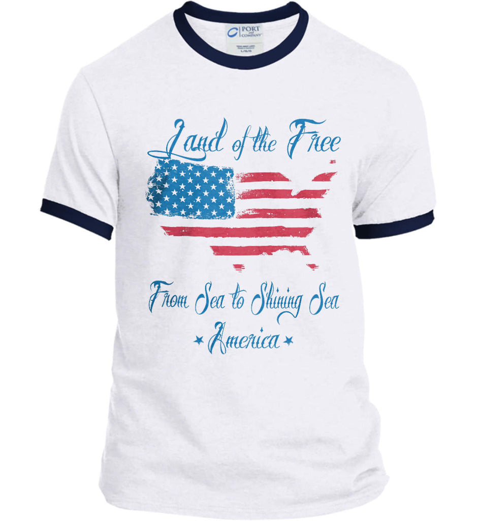 Land of the Free. From sea to shining sea. Port and Company Ringer Tee.-4
