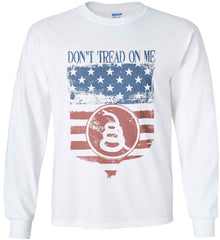 Don't Tread on Me. Rattlesnake. Faded Grunge Shield Gildan Ultra Cotton Long Sleeve Shirt.