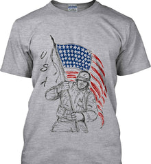 Soldier Flag Design. Black Print. Gildan Ultra Cotton T-Shirt.