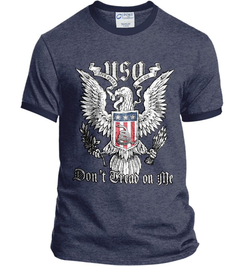 Don't Tread on Me. Eagle with Shield and Rattlesnake. Port and Company Ringer Tee.-6