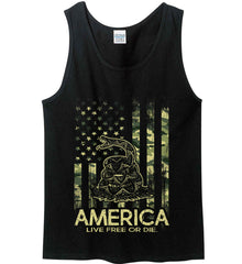 America. Live Free or Die. Don't Tread on Me. Camo. Gildan 100% Cotton Tank Top.