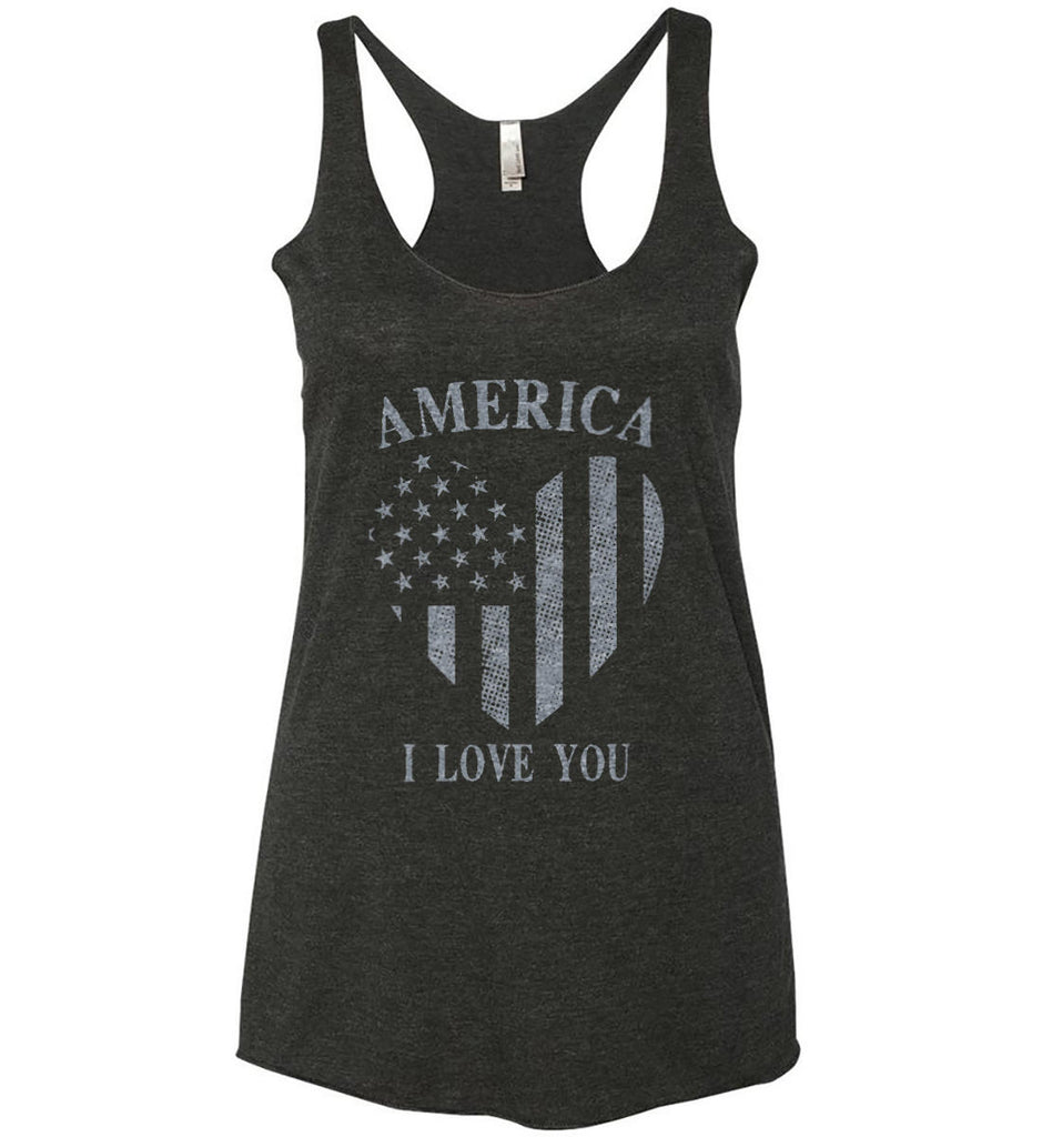 America I Love You Women's: Next Level Ladies Ideal Racerback Tank.-1