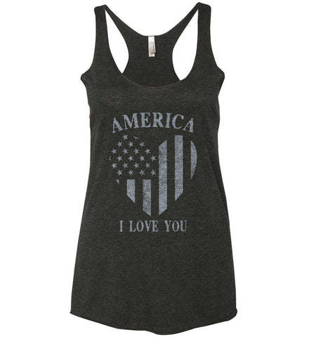 America I Love You Women's: Next Level Ladies Ideal Racerback Tank.
