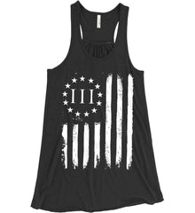 Three Percent on American Flag. White Print. Women's: Bella + Canvas Flowy Racerback Tank.