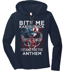 Kaepernick. I Stand for the Anthem. Women's: Anvil Ladies' Long Sleeve T-Shirt Hoodie.