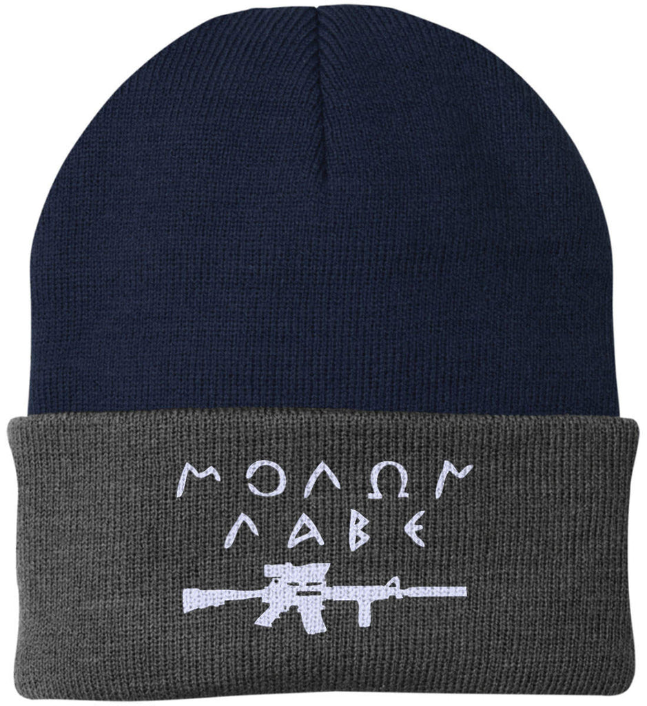 Molon Labe Rifle Hat. Port Authority Knit Cap. (Embroidered)-16