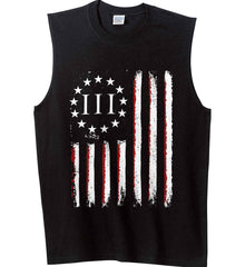Three Percent on American Flag. Gildan Men's Ultra Cotton Sleeveless T-Shirt.