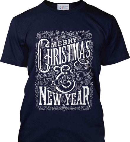 Merry Christmas and Happy New Year. Port & Co. Made in the USA T-Shirt.