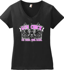Gun Chick. Gun Toting. Pistol Packing. Pink Print. Women's: Anvil Ladies' V-Neck T-Shirt.