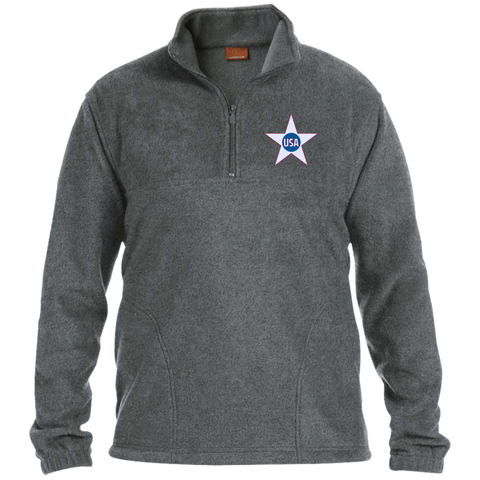 USA. Inside Star. Red, White and Blue. Harriton 1/4 Zip Fleece Pullover. (Embroidered)