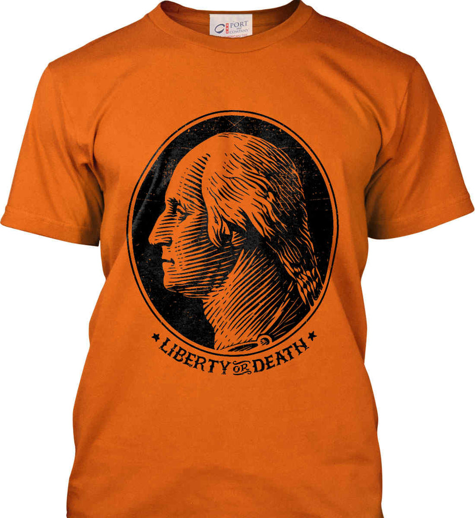 George Washington Liberty or Death. Black Print Port & Co. Made in the USA T-Shirt.-5