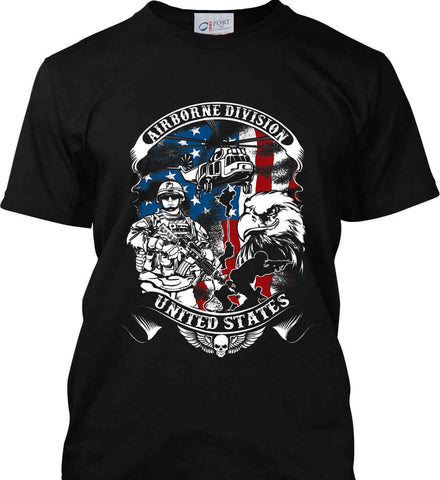 Airborne Division. United States. Port & Co. Made in the USA T-Shirt.