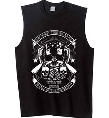 The Right to Bear Arms. Shall Not Be Infringed. Since 1791. White Print. Gildan Men's Ultra Cotton Sleeveless T-Shirt.
