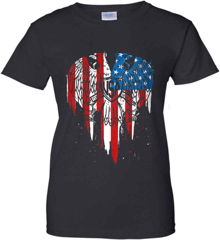 USA Eagle Flying High. Women's: Gildan Ladies' 100% Cotton T-Shirt.