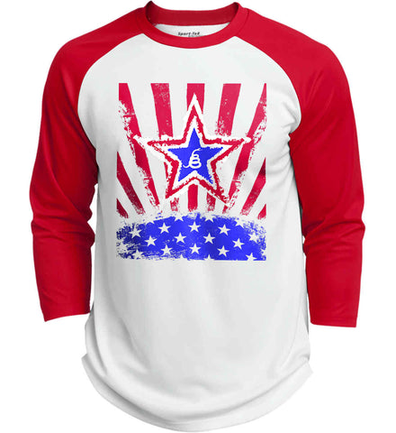 Don't Tread on Me: Red, White and Blue Rattlesnake. Sport-Tek Polyester Game Baseball Jersey.