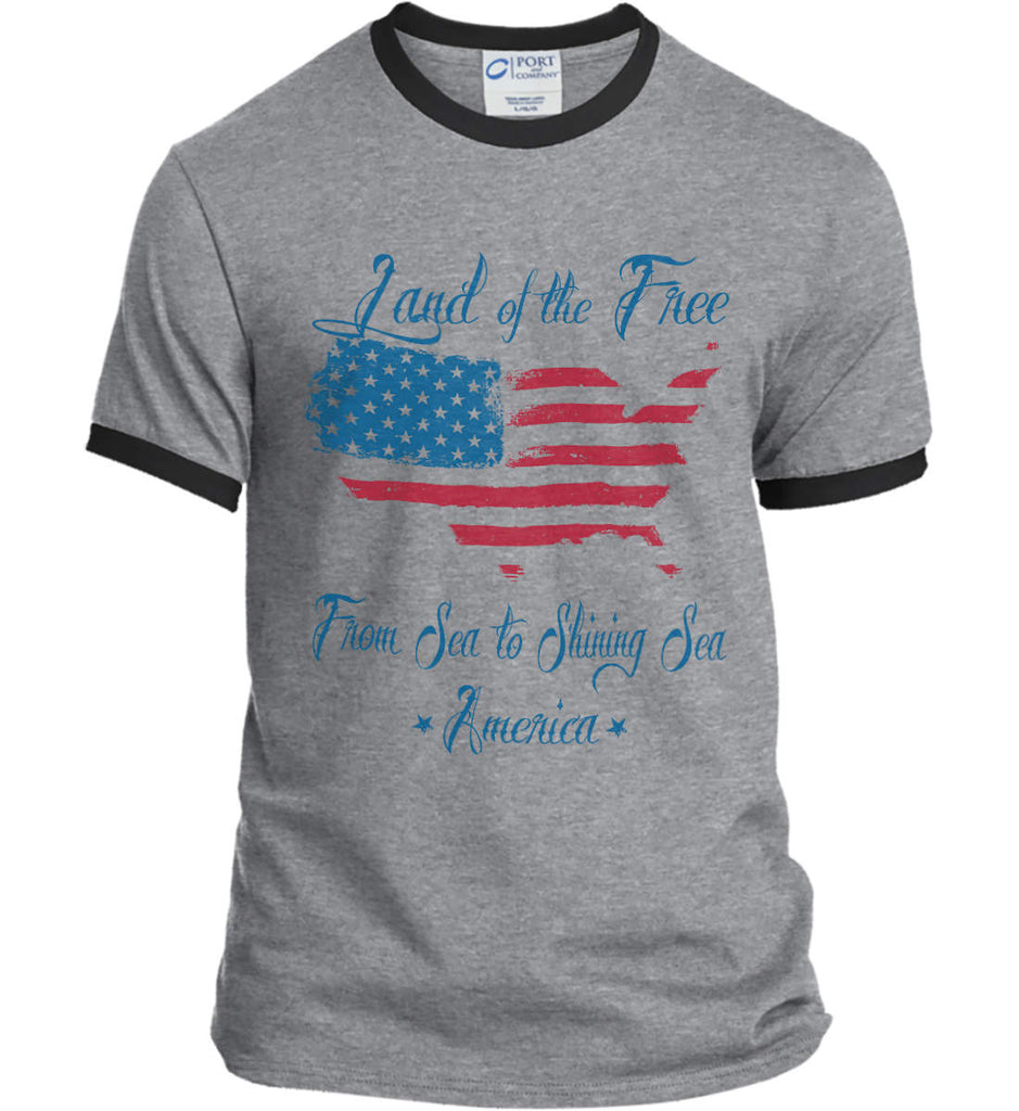 Land of the Free. From sea to shining sea. Port and Company Ringer Tee.-3