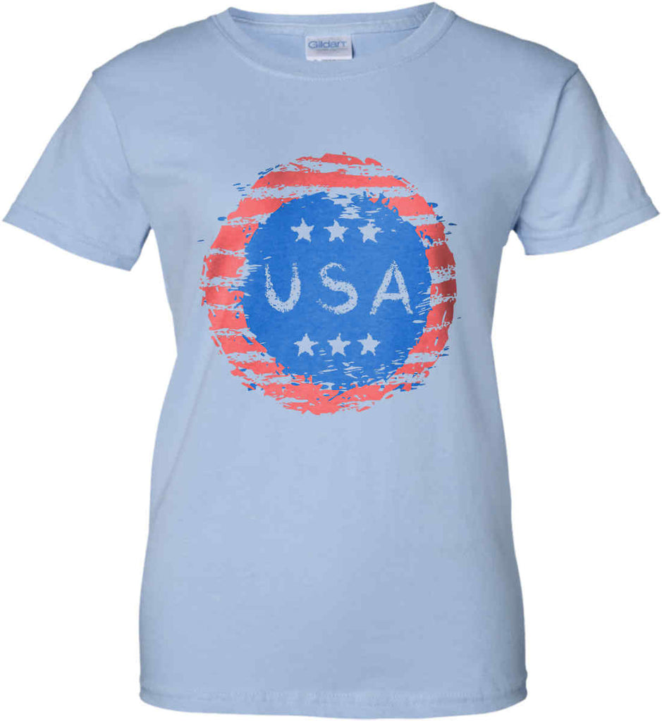 Grungy USA. Women's: Gildan Ladies' 100% Cotton T-Shirt.-4