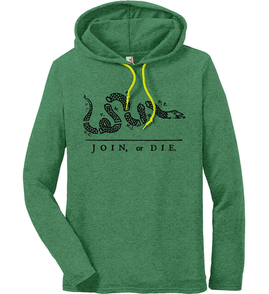 Join or Die. Black Print. Anvil Long Sleeve T-Shirt Hoodie.-3