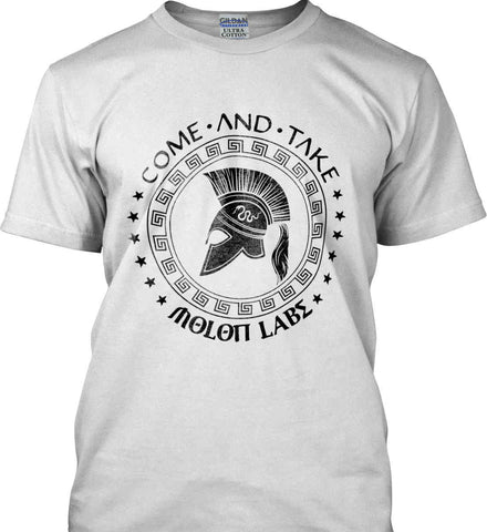 Come And Take - Molon Labe Spartan Second Amendment. Black Print. Gildan Ultra Cotton T-Shirt.