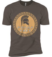Molon Labe Spartan Helment. Gold Print. Next Level Premium Short Sleeve T-Shirt.
