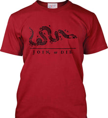 Join or Die. Black Print. Port & Co. Made in the USA T-Shirt.