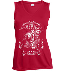 America A Nation of Heroes. Kneeling Soldier. White Print. Women's: Sport-Tek Ladies' Sleeveless Moisture Absorbing V-Neck.