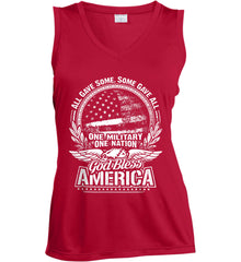 All Gave Some, Some Gave All. God Bless America. White Print. Women's: Sport-Tek Ladies' Sleeveless Moisture Absorbing V-Neck.