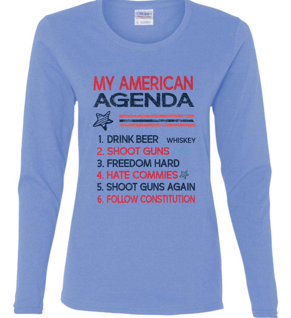My American Agenda. Women's: Gildan Ladies Cotton Long Sleeve Shirt.-1