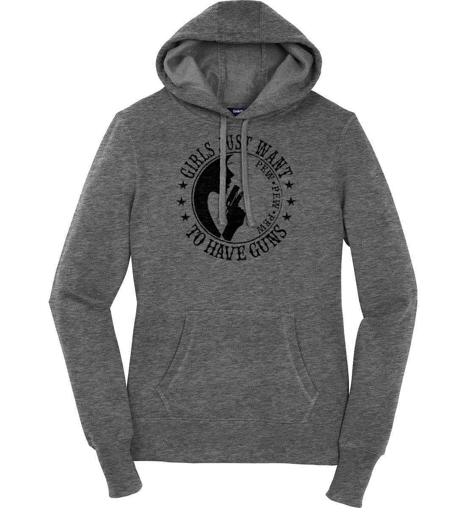Girls Just Want to Have Guns. Pew Pew Pew. Women's: Sport-Tek Ladies Pullover Hooded Sweatshirt.-3