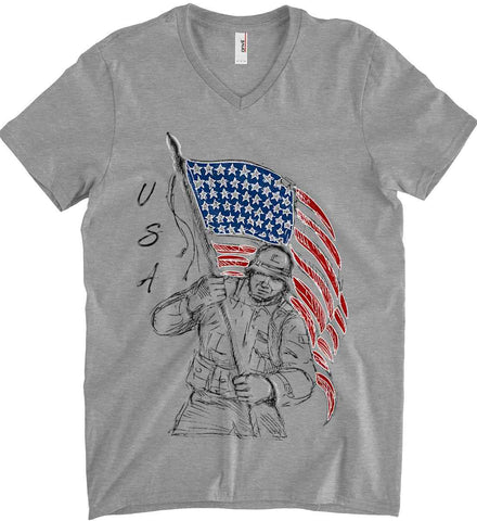 Soldier Flag Design. Black Print. Anvil Men's Printed V-Neck T-Shirt.