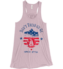 Don't Tread on Me. Snake on Shield. Red, White and Blue. Women's: Bella + Canvas Flowy Racerback Tank.