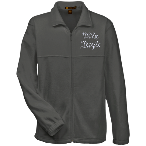 We the People. White Text. Harriton Fleece Full-Zip. (Embroidered)