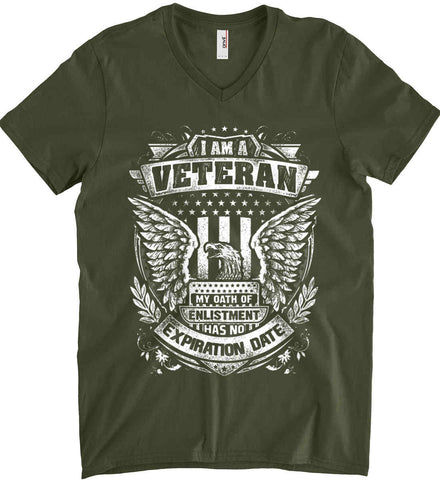 I Am A Veteran. My Oath Of Enlistment Has No Expiration Date. White Print. Anvil Men's Printed V-Neck T-Shirt.